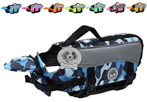 ackets, Pet Life Vest Lifesaver Dog Life Preserver with Extra Padding for Dogs, Camo Blue, M (Pet Life Preserver)