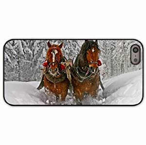 Apple iPhone 5 5S Cases Customized Gifts Animals winter Horse snow Black