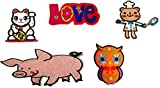 Super Worth Cute 5 pcs./ Lot Set Various Mix Animals Words Love Patches Appliques Badge Cool Look Embroidered Iron-on Sewing Craft for Biker Rider Decorative Craft Adhesive Cloth Art by Indy patch