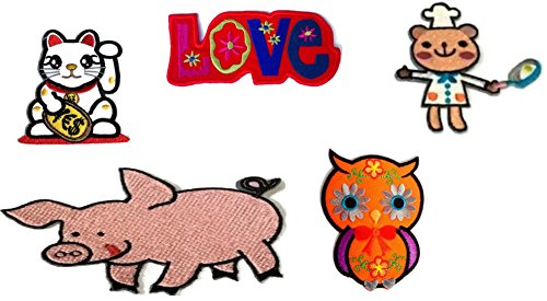 Super Worth Cute 5 pcs./ Lot Set Various Mix Animals Words Love Patches Appliques Badge Cool Look Embroidered Iron-on Sewing Craft for Biker Rider Decorative Craft Adhesive Cloth Art by Indy patch by Indy patch