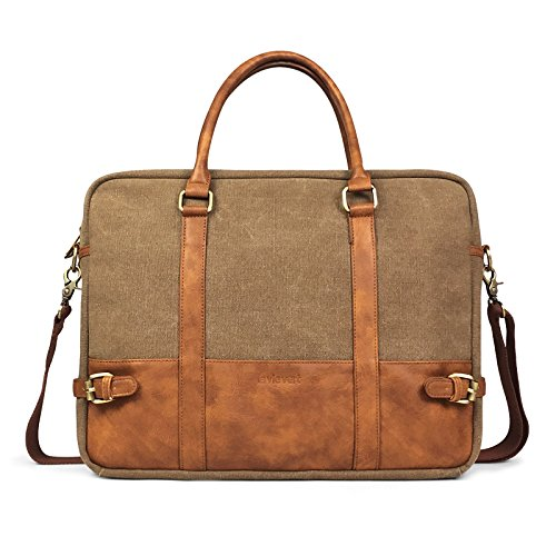Lavievert Cotton Canvas and Crazy-Horse PU Leather Laptop Bag/Cross Body Shoulder Bag and Handbag 2 in 1 / Notebook Ultrabook Tablet Padded Case for Up to 15.6 Inch Laptop - Brown by Lavievert