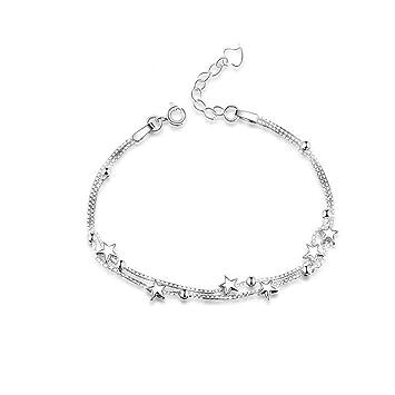 8434ae0538f41 Bijoux Bracelet Femme Argent Sterling 925, Mini étoiles élégant Perles  Layered chaîne Bracelets Réglable avec