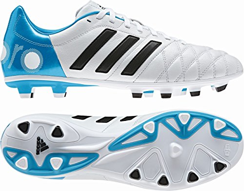 adidas 11Nova TRX FG - Botas de fútbol para hombre blanco / azul Talla:12.5 UK - 48.0 EU - blanco / azul