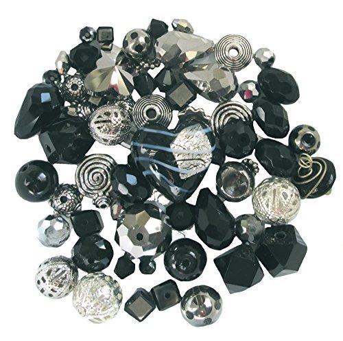 (Jet Black & Metallic Grey ~ Silver Tone Bead Kit (Z605-2))
