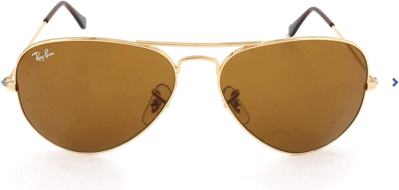 Ray-Ban Aviator Large Metal, Gafas de Sol Unisex Adulto, Dorado (Crystal Brown & Silver Gradient Mirror), 58