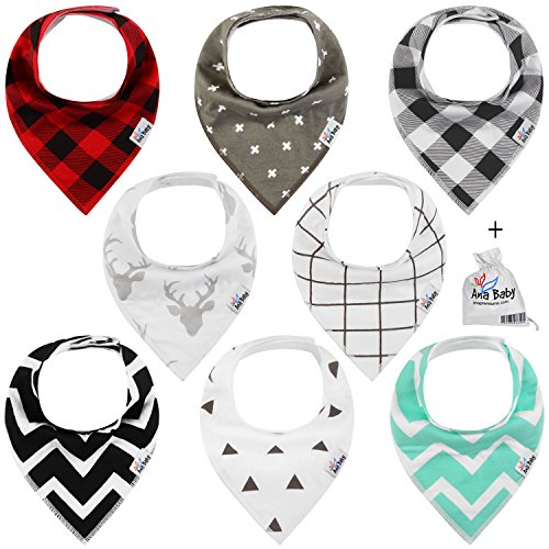 [Premium Baby Bandana Drool Bibs 3 Snaps unisex 8-Pack Gift Set for Drooling and Teething 100% Organic Cotton,Hypoallergenic -for Boys and Girls by Ana] (Cute Army Outfits)