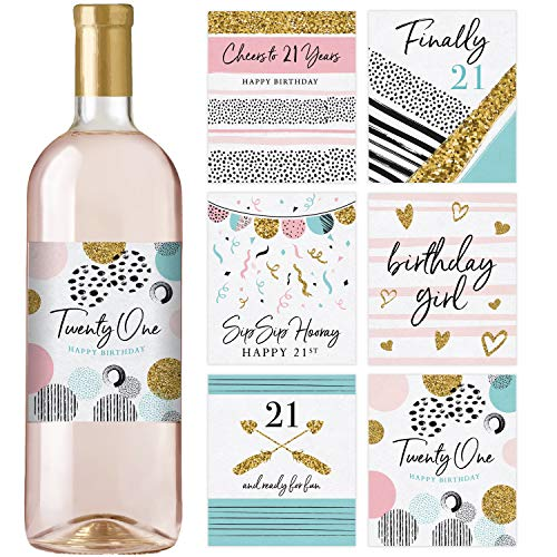 21st Birthday Wine Bottle Labels | Set of 6 | Birthday Gifts For Her | 21st Birthday Party Decorations, Ideas and Supplies