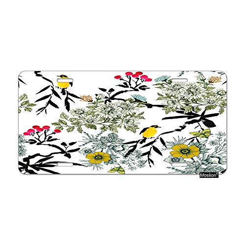Butterfly Meadow Leaf - Moslion Bird License Plate Nature Blooming Meadow Flowers Leaves Rowan Birds Butterfly Car Tags Aluminum Metal Custom License Plate Cover 6x12 Inch for Truck SUV