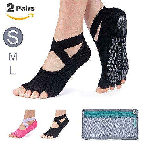 Hylaea Yoga Socks for Women Grip & Non Slip Toeless Sock for Ballet, Pilates, Combed Cotton, 2 Pairs, Black/Watermelon Red