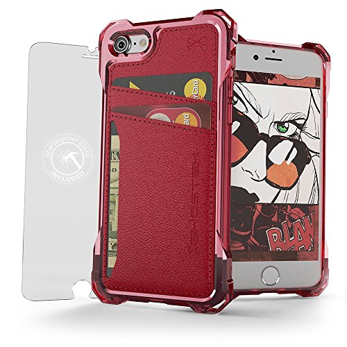 iPhone 7 Wallet Case, Ghostek Exec Series for Apple iPhone 8 Slim Armor Hybrid Impact Protective Bumper | TPU PU Leather Credit Card Slot Holder Sleeve Cover | Shatterproof Screen - Card Glass Credit