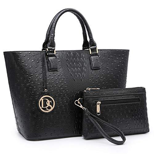 (Women Vegan Ostrich Leather Handbag Tote Bag Top Handle Purse Satchel Hobo Bag 2 Handbags Set For)