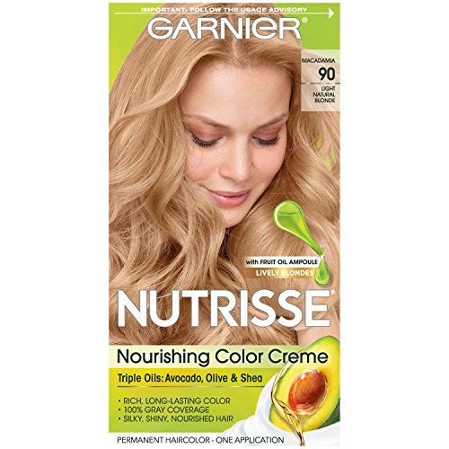 Garnier Nutrisse Nourishing Hair Color Creme, 90 Light Natural Blonde (Macadamia)  (Packaging May Vary)