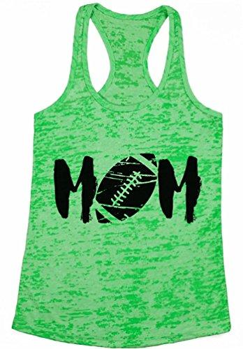 Awkward Styles Women's M-O-M Football Mom Graphic Burnout Racerback Tank Tops Black Sports Green S - Burnout Football