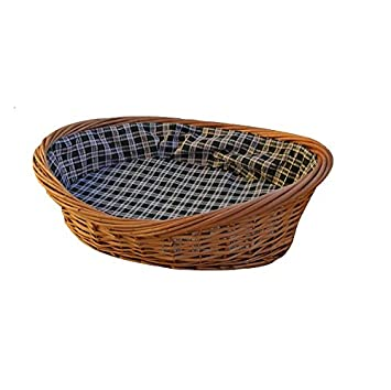Caseta Cuna Cojín de tela a cuadros perro gato animales cesta mimbre Arenero cm 67 x cm 49 H 13 cm: Amazon.es: Jardín