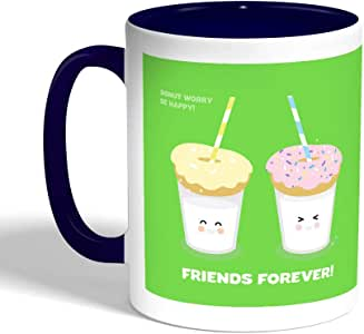 friends forever Printed Coffee Mug, Blue Color