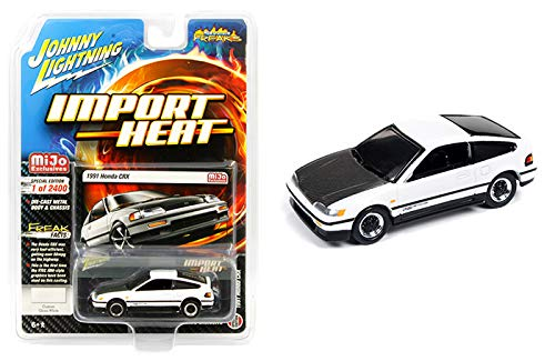 1991 Honda CRX Custom Gloss White with Carbon Hood Street Freaks Series Limited Edition to 2,400 Pieces Worldwide 1/64 Diecast Model Car by Johnny Lightning JLCP7170