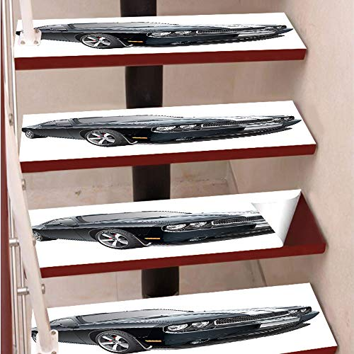 3D Print Non-Slip PVC Stair Pads,Self-Adhesive Steps Sticker,Staircase Treads Protector,Black Modern Pony Car with White Racing Stripes Coupe Motorized Sport Dragster,for Home Decoration(9.8X39 inch)