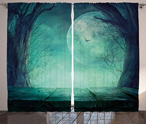 Halloween Decorations Curtains by Ambesonne, Spooky Forest Full Moon and Vain Branches Mystical Haunted Horror Theme Rustic Decor, Living Room Bedroom Decor, 2 Panel Set, 108 W X 90 L Inches, Teal