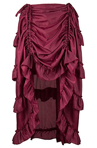 Steampunk Outfits Female (Alivila.Y Fashion Womens Steampunk Victorian Gothic Party Dress Skirt 31672-Burgundy-2XL)