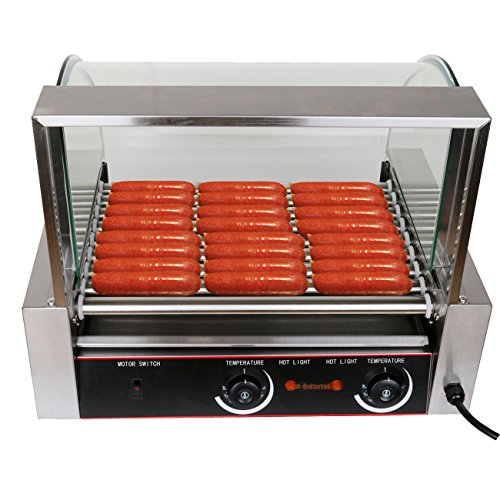 Ridgeyard 1260W Commercial 24 Hot Dog Maker 9 Roller Grilling Machine Non Stick Stainless Steel W/Cover Dual Temperature Controls