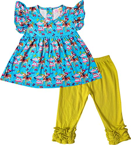 Boutique Toddler Girls Minnie Mouse Carousel Angel Sleeves Tunic Capri Outfit 3T/M Blue/Yellow]()