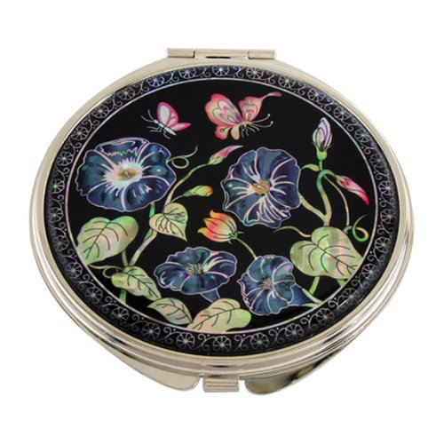 Mother of Pearl Blue Morning Glory Flower Design Double Compact Magnifying Cosmetic Makeup Purse Beauty Pocket Mirror