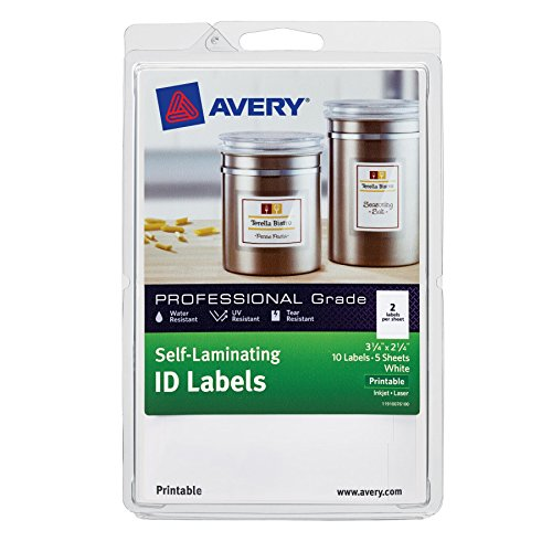 Avery 3.25 x 2.25 Inches Printable Self-Laminating ID Labels, Pack of 10, White (00761)