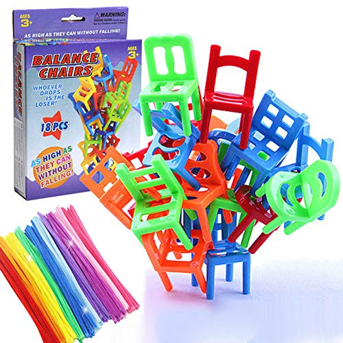 Balancing Toys Plastic Chairs, Multiplayer Balance Game Chairs Stacking Tower 18 Chair Toys and 10 puzzle twist sticks Set Interesting Stack Board - Game Stacking Chair