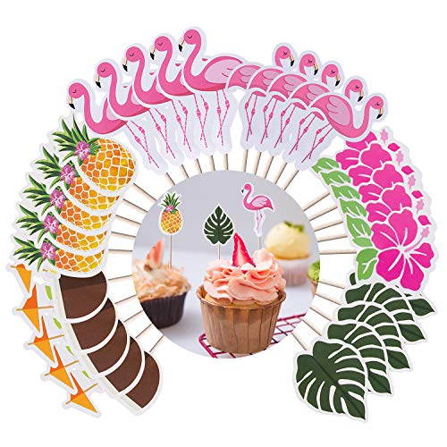 Luau Cupcake Toppers Hawaiian Cake Decorations (60 Pcs) - Tropical Pineapple Flamingo Cake Topper Cupcake Picks for Summer Birthday Wedding Party Food Decoration Supplies -