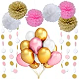 LeeSky 100Pcs 12Inch 2.8g/pcs Round Ultra Thickness Gold & Pink & White Latex Balloons,Tissue Paper Flower and Circle Dots Garland,Wedding Bachelorette Birthday Party Decoration Supplies