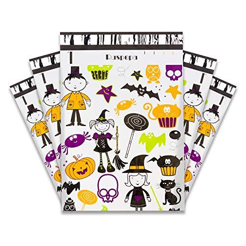 RUSPEPA Halloween Poly Mailer Envelopes - Halloween Elements Pattern Waterproof Shipping Bag - 10x13 Inch - 100Pcs - Witch