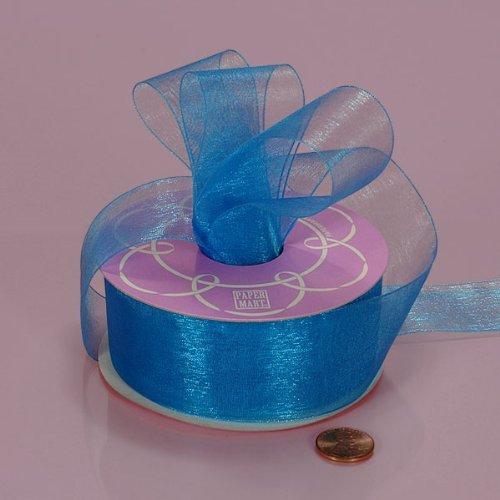 "Turquoise Shimmer Sheer Organza Ribbon, 7/8"" X 25Yd"