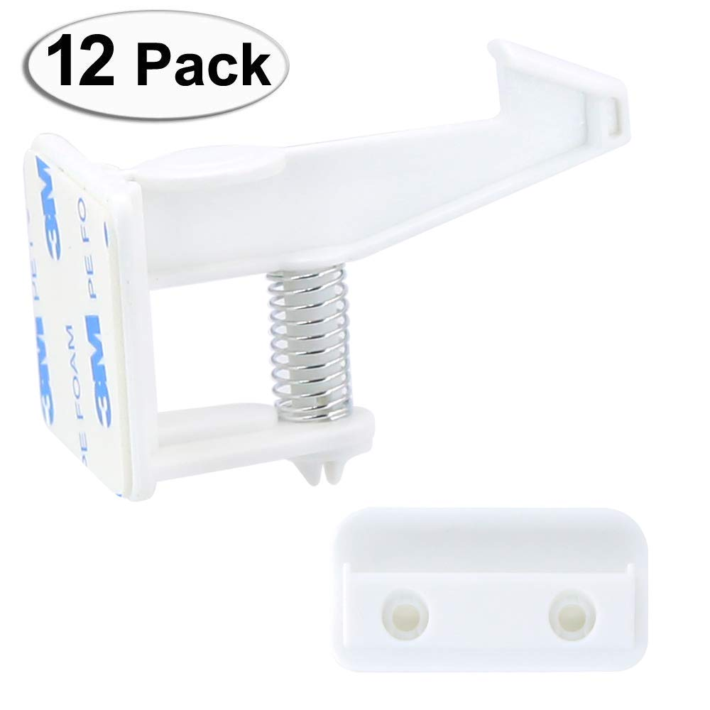 uowlbear Cabinet Locks Child Safety, Baby Proof Drawer Locks with Adhesive and 48 Screws -12 Packs White