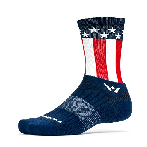 Swiftwick - VISION FIVE PRIDE, American Pride, Crew Socks for Cycling and Running, Flag, Medium (Flag Bike)