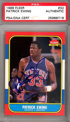 - Patrick Ewing Signed 1986 Fleer Rookie Trading Card #32 New York Knicks - Certified Genuine Autograph By PSA/DNA