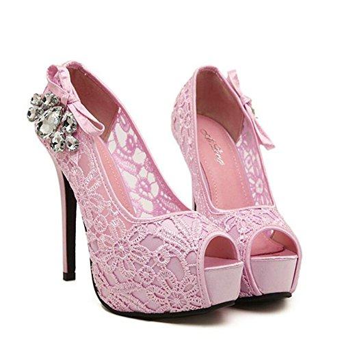 L@YC Mujeres De Tacones altos De Pescado Boca Drill Nightclub Multa Con La Boca Baja De Gran TamañO CóModo Zapatos De Danza Pink