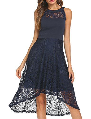 Funpor Women's Sleeveless Halter Floral Lace High Low Cocktail Party Dress (Asymmetrical Floral Prom Dress)