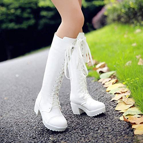 Boots Mi Longue Hiver Heels Talon pour Botte Chaussures YE Plateforme Bloc Chunky Femme Lacet gwX5EnqZOx