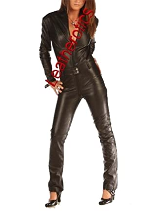 2252cad9c15 Amazon.com  Skin Tight Suit Black Leather Catsuit Jumpsuit Tight 1235   Clothing