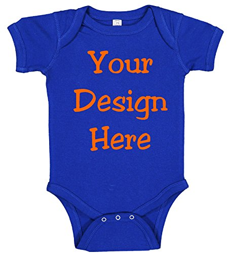Personalized Baby One Piece Body Suit Add Your Image/Text (12 Months, Royal Blue) ()