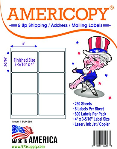 6 Up Labels - Address Labels - Americopy - Shipping / Mailing Labels - 4
