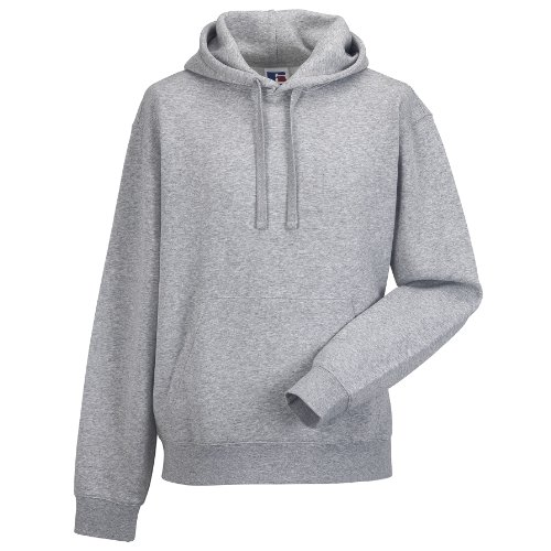 Russell Mens Authentic Hooded Sweatshirt / Hoodie (L) (Light Oxford)
