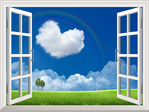 Removable Wall Sticker Wall Mural Heart Shaped Cloud on the Clear Sky with a Rainbow Creative Window View Wall Decor