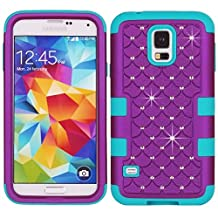 S5 Case,Lantier [Rhinestone Crystal Bling][Diamond Design][Soft Hard Tough Case] Hybrid Armor Case Cover for Samsung Galaxy S5 / SV / i9600 Purple/Blue