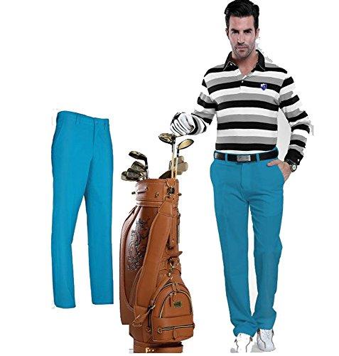 Kayiyasu ロングパンツ メンズ ゴルフウェア 防水 UVカット 男性用 撥水 長ズボン 021-xsty-kuz005(M ブルー)