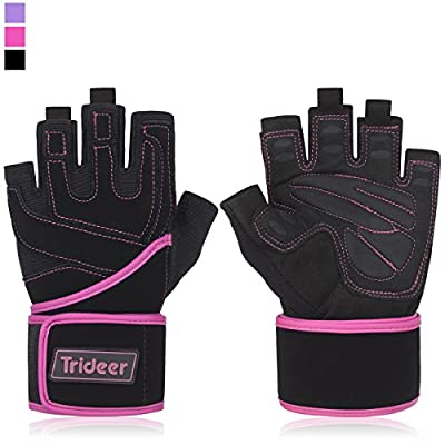 "Women's Padded Anti-Slip Weight Lifting Gloves with 18"" Wrist Wraps, Trideer Pro Gym Gloves Support for Weightlifting, Cross Training, Gym Workout, Fitness, Bodybuilding (PAIR)"