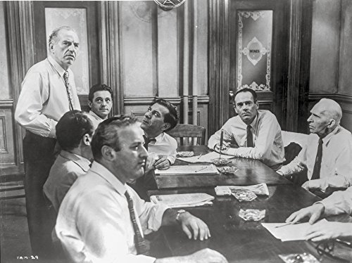 Twelve Angry Men in Meeting Scene in Black and White Photo Print (10 x 8)