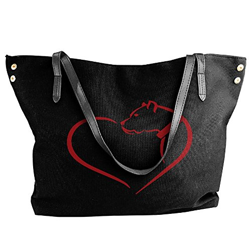 Tote Shoulder Tote Canvas Black Large Hobo Heart Women's Pitbull Messenger Dog Handbag Bag 4qZHPggTw