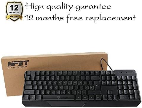 NPET teclado Gaming Gamer con cable retroiluminada Layout – QWERTY negro K70