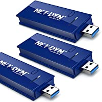 3-Pack Top Dual Band USB Wireless WiFi Adapter, AC1200, 5GHz and 2.4GHZ (867Mbps/300Mbps), Super Strength So You Can Say Bye to Buffering, for PC or Mac, by NET-DYN